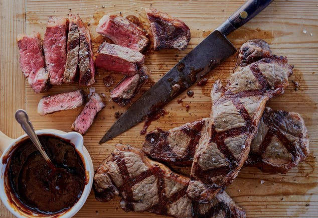 New York Strip Steaks With Red Eye Barbecue Sauce Trans
