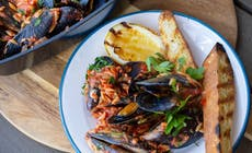 Barbecue Mussels With Chorizo And Tomato Risoni