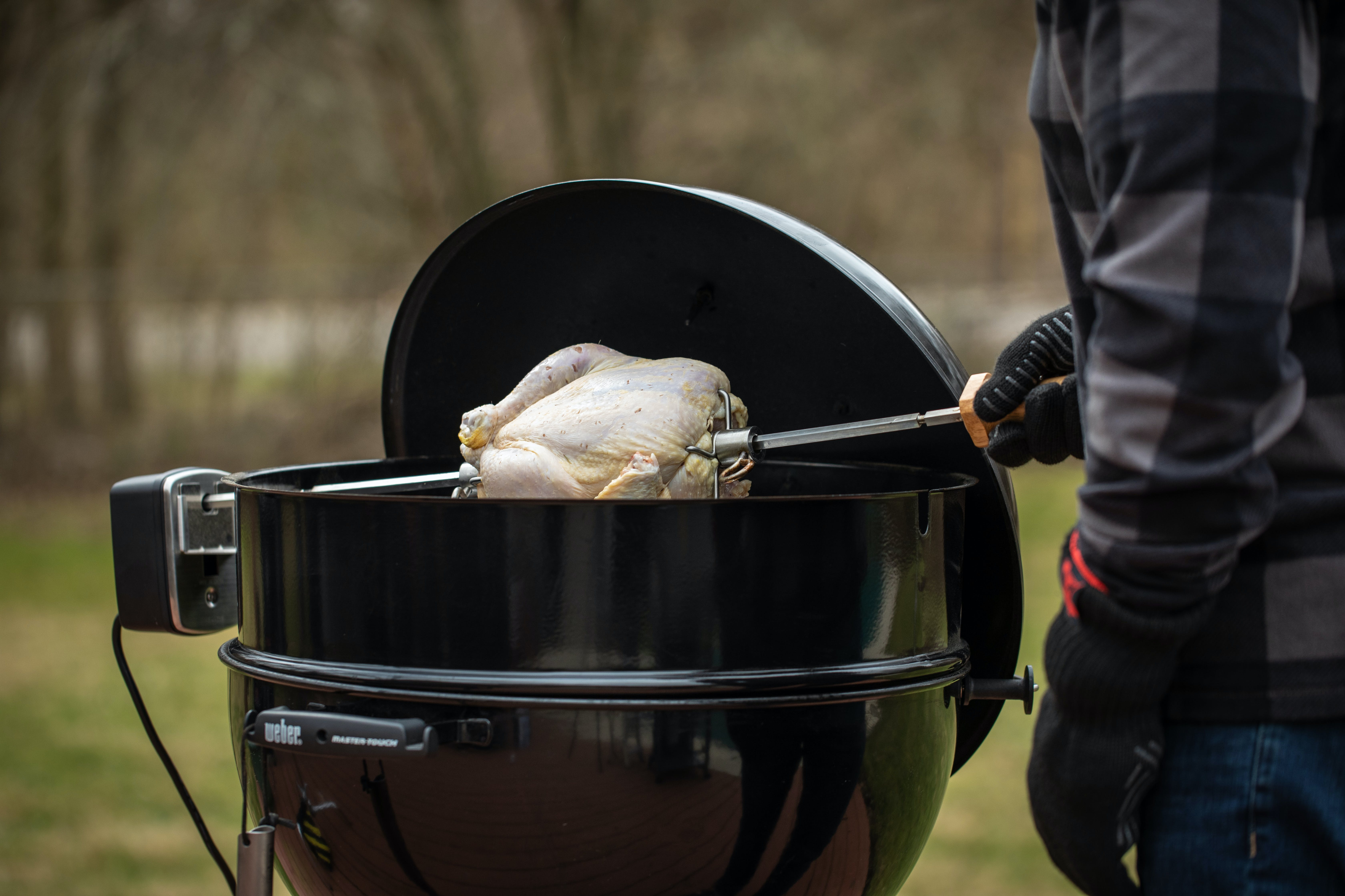 2019 01 Lang Rosemary Brined Chicken Photo Raw Turkey On Rotisserie On Kettle 11