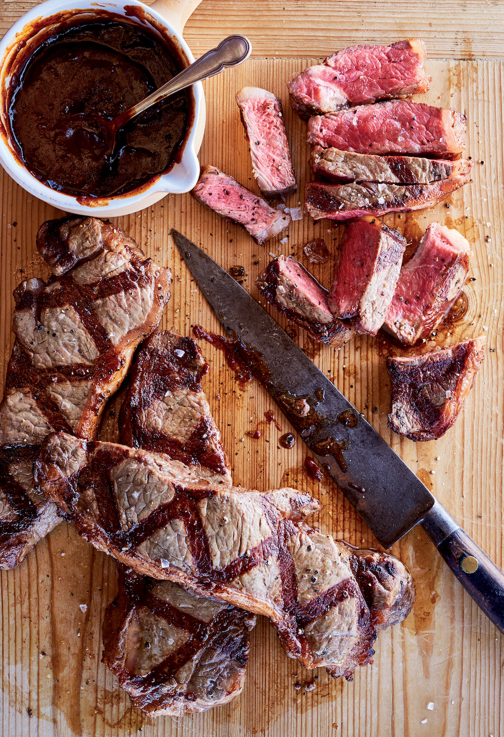 New York Strip Steaks With Red Eye Barbecue Sauce