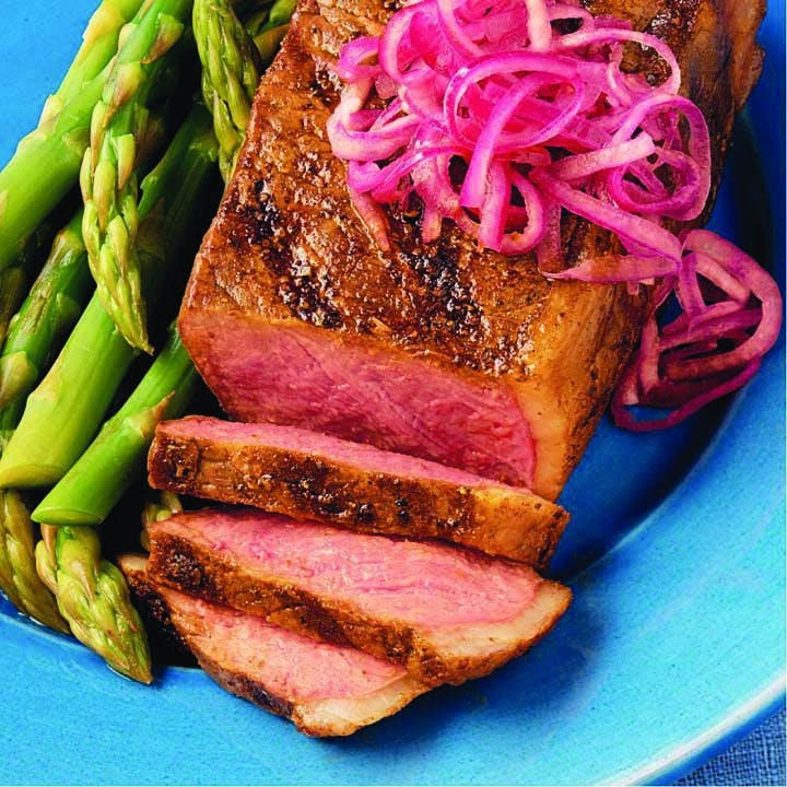 Paprika Rubbed Steaks W Pickled Onions