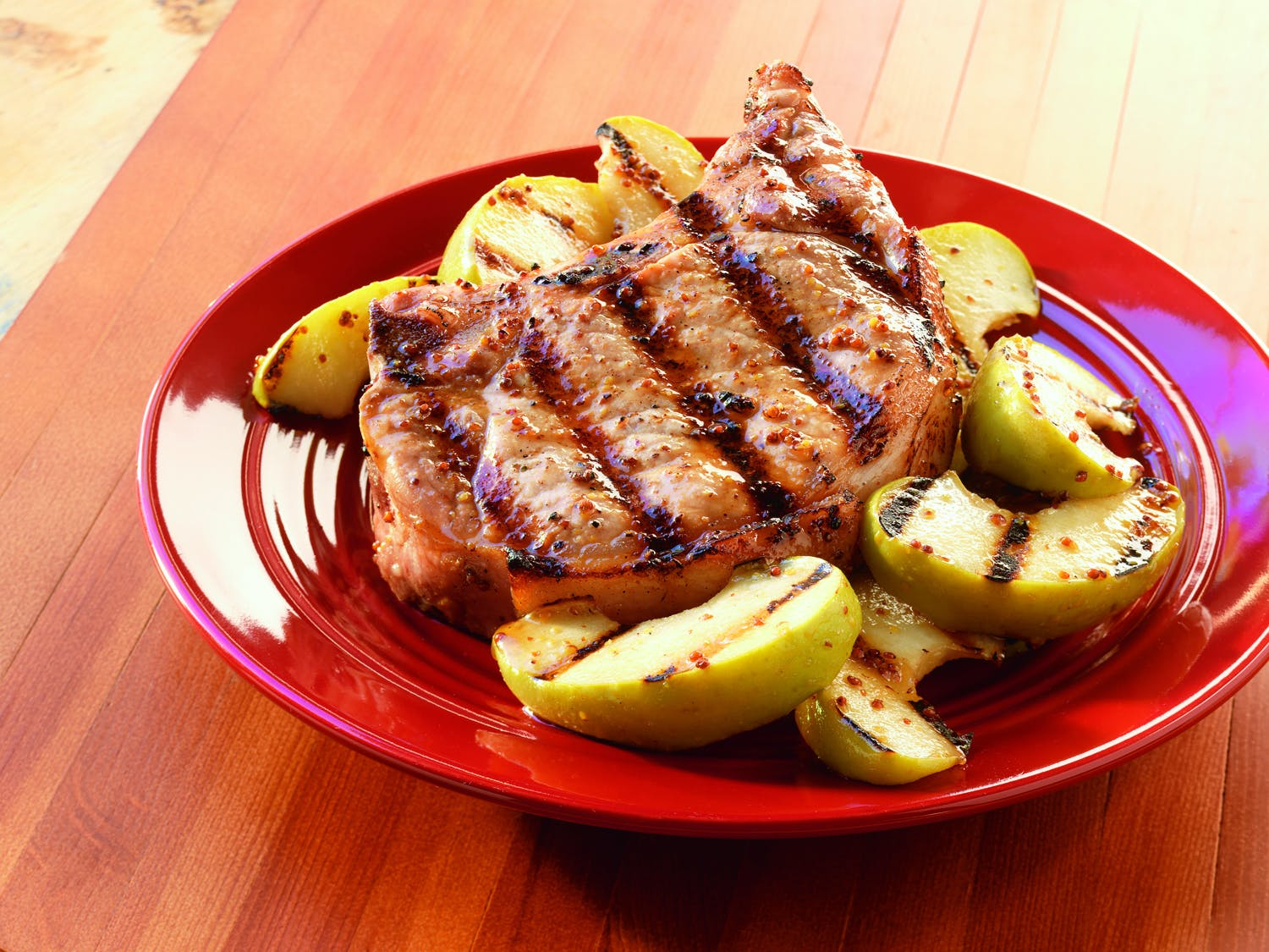 Whiskey Mustard Pork Chops Wgrilled Apples