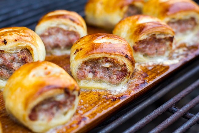 56817B7694590 2015 12 Week 5 Nye Lang  Planked Sausage Rolls  Photo  Planked  Sausage  Rolls On Charcoal Copy
