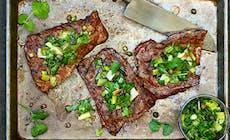 Bifteck De Jupe Grillé Et Sa Sauce Verte Aux Oignons