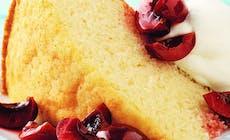 Vanilla Cake With Cherries And Cream