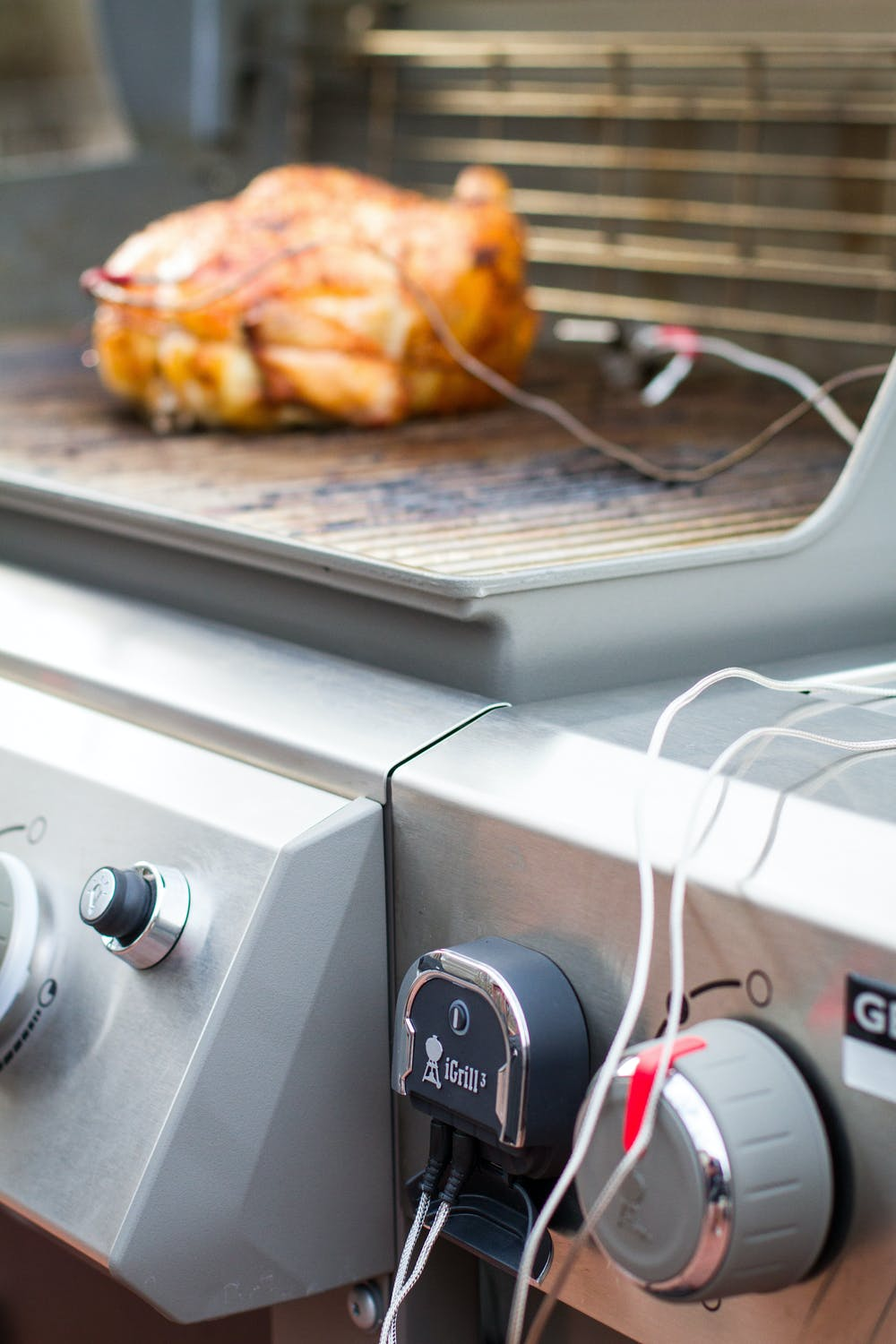 The iGrill3 temperature monitoring the temperature of a beer can chicken - How to Cook A Beer Can Chicken On The Grill - Weber Grills